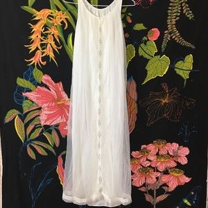 VINTAGE / 1960s white maxi length sheer gown